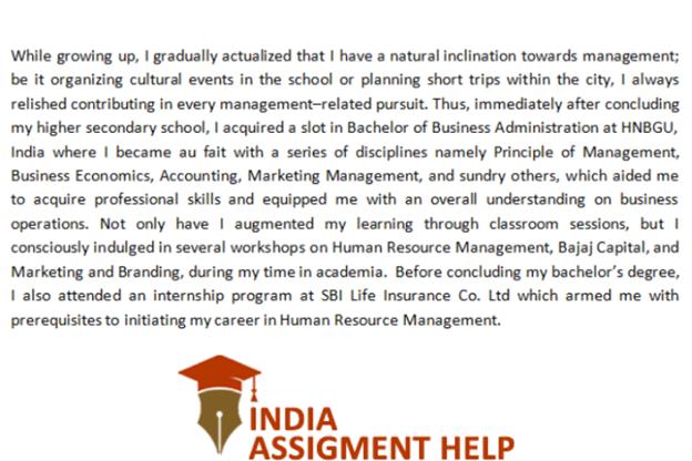 SOP for internship sample 3