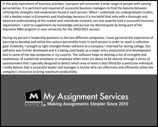 MBA admission SOP sample