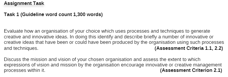innovation management assignment sample question